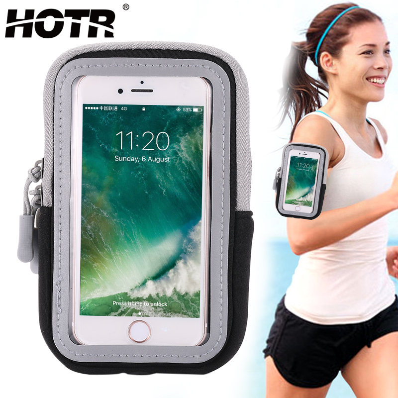 HOTR Running Sport Armband Case Arm Band Pouch Bag Full Armband Cover Universal for iphone X 8 7 6 plus Case Cover