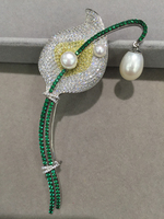 Romantic flower brooch solid silver with cubic zircon fashion women jewelry Calla Lily brooch for dress or coat pearl