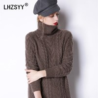 LHZSYY Winter New High Collar Thick Cashmere Sweater Fashion Solid color Twist flowers Women Sweaters Long high quality pullover