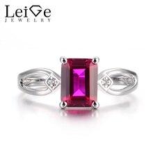 Leige Jewelry Ruby Vintage Rings Ruby Rings July Birthstone Emerald Cut Red Stone Rings Real 925 Sterling Silver Elegant Rings