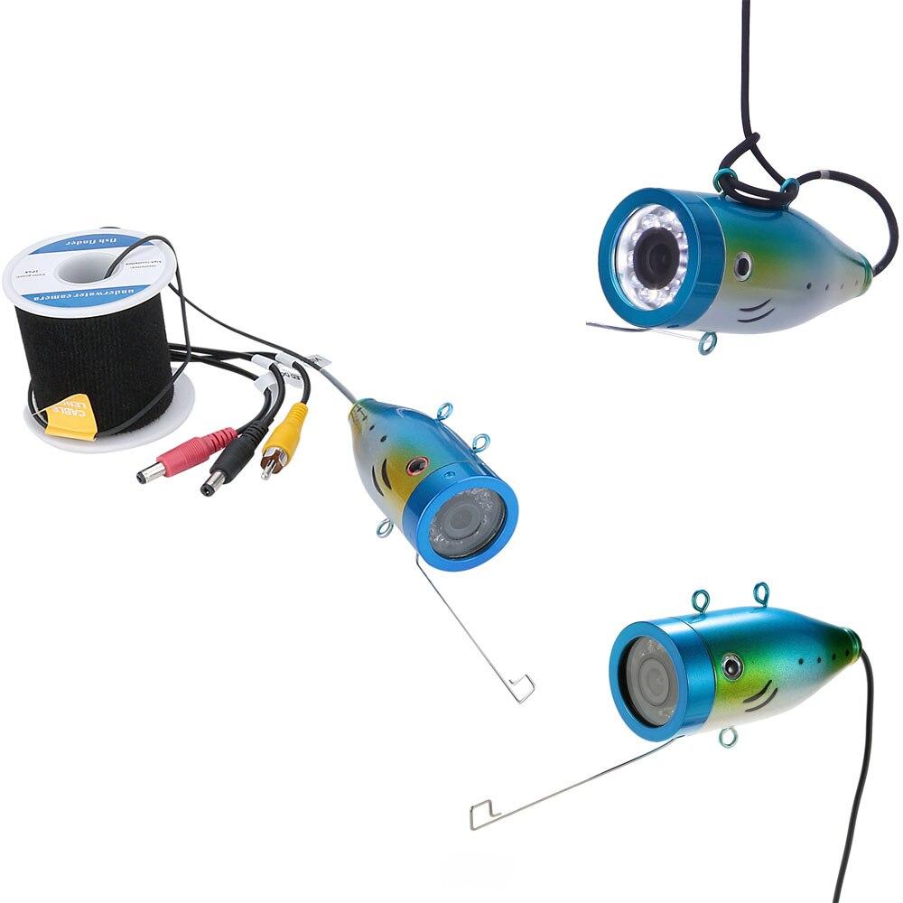GAMWATER 1000tvl Sous-Marine De Pêche Câble 15 M 20 M 30 M 50 M + Caméra avec 12 PCS LED blanc lampe Lumières