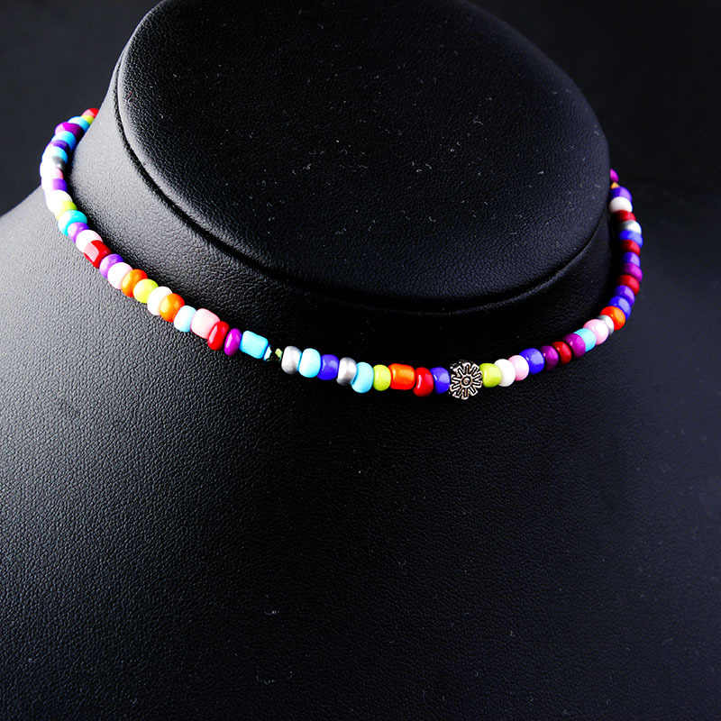 Boho Fashion Candy Color Beads Choker Necklace Bohemain Satellite Chocker Rainbow Necklace Women's Accessories