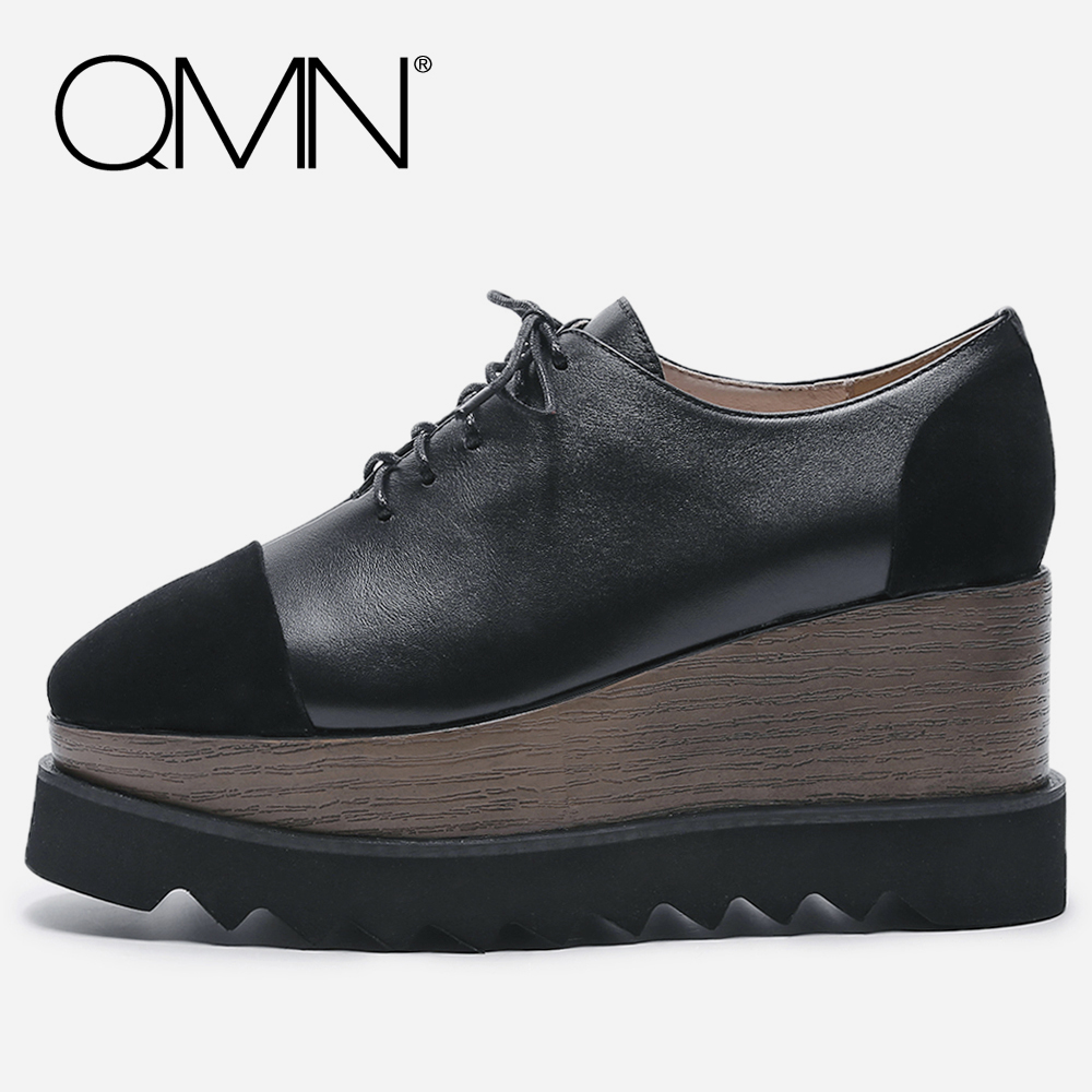 QMN women genuine leather oxfords for Women Square Toe Platform Brogue Shoes Woman Leather Flats Large Size Women Shoes 34-42 qmn women genuine leather platform flats women cow leather oxfords retro square toe brogue shoes woman leather flats creepers