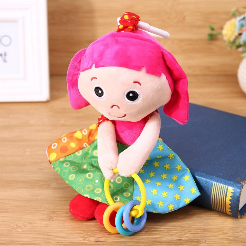 Baby Girl Soft Plush Toy Girl Shape Comforts Doll Music Sound Doll Toys Baby Bed Stroller Hanging Bell Toy Kid Baby Bed Ornament