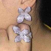 GODKI New Luxury Fiore Foglia AAA Cubic Zirconia Marca Nuovo Fidanzamento Anello Resizable Per Le Donne Glitter Elegante Fatta A Mano Anello