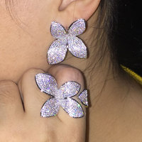 GODKI New Luxury Leaf Flower AAA Cubic Zirconia Brand New Engagement Resizable Ring For Women Glitter