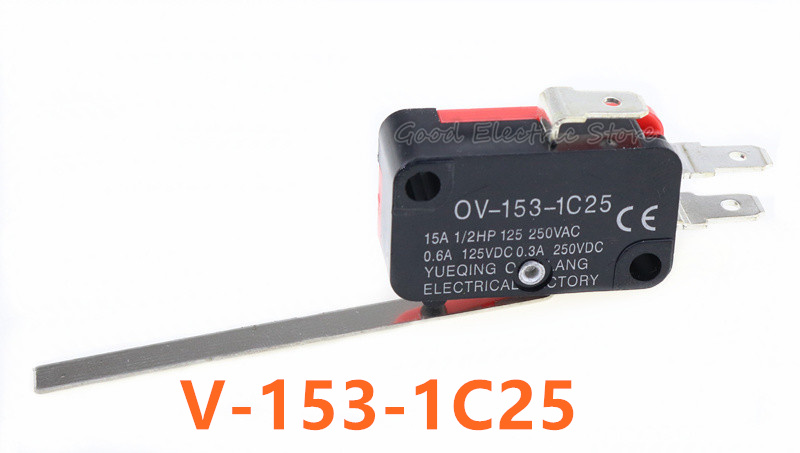 5Pcs V-153-1C25 Long Straight Hinge Lever Type SPDT Micro Switch Limit Switch