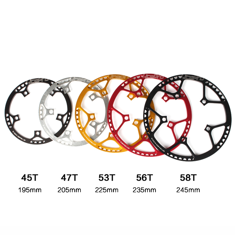 Xingcr Bicycle Chainwheel Litepro 5 sizes 130 BCD 45T 47T 53T 56T 58T A7075 Alloy BMX Chainring Folding Bike Crankset лонгслив vis a vis vis a vis vi003ewxpt44