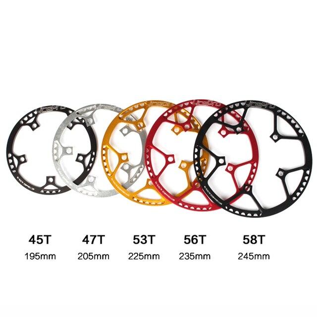 Xingcr de bicicleta de Litepro 5 tamaños 130 BCD 45 t 47 T 53 T 56 T 58 T A7075 de aleación de BMX plato bicicleta plegable plato