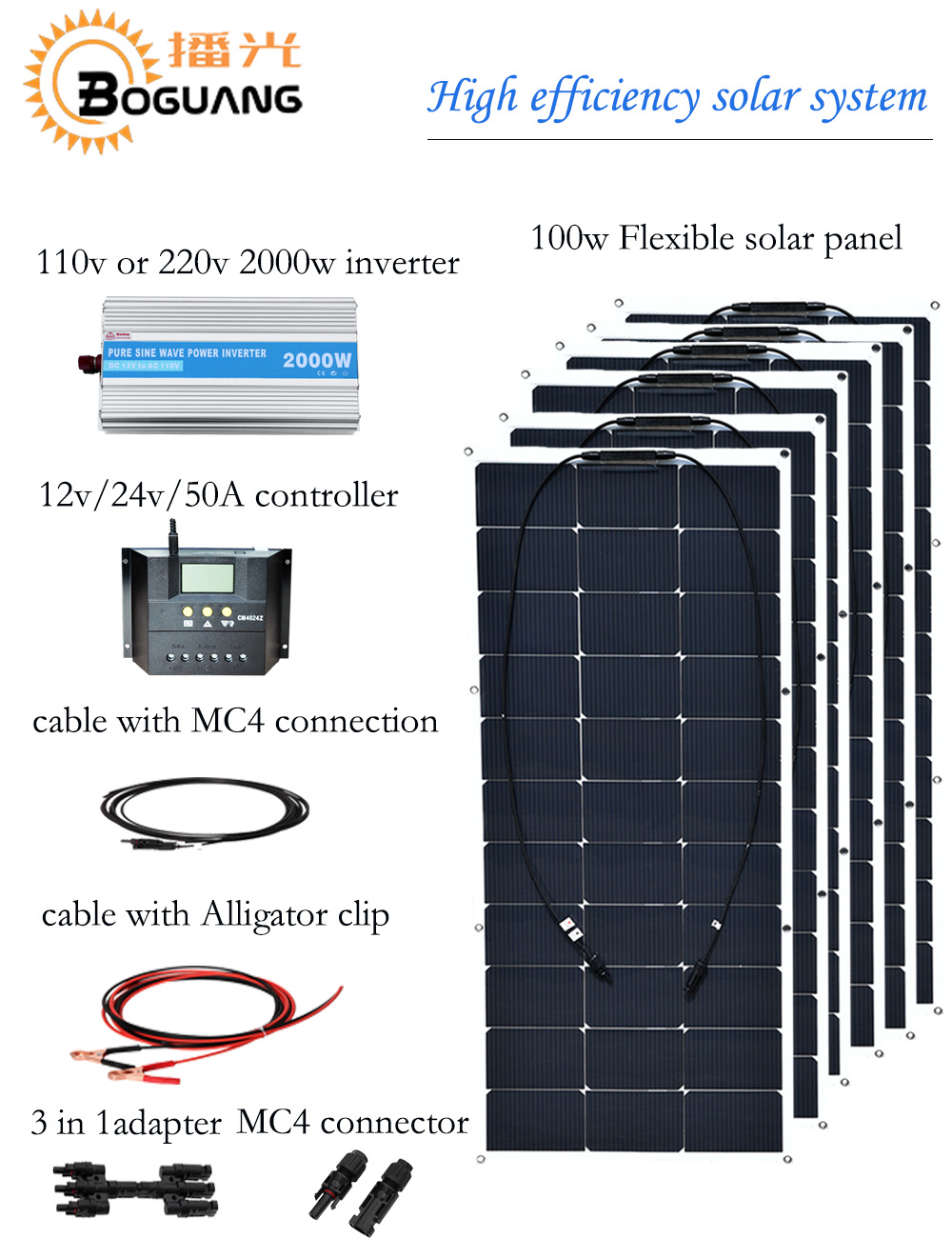 Boguang 600w solar system 100w semi flexible solar panel 110v 220v 2000w inverter 50A controller MC4 connector cable DIY kit
