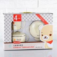 4pcs/set 304Stainless steel baby Set Feeding Cup Spoon For Kid Dinnerware Water Warm Children Anti hot Tableware