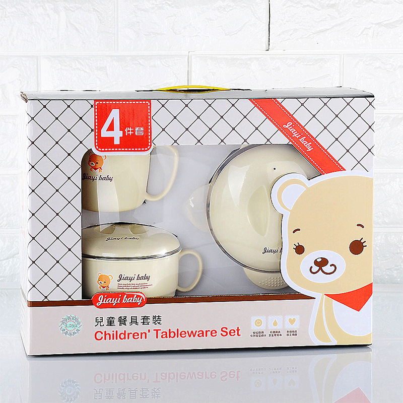 4pcs/set 304Stainless steel baby Set Feeding Cup Spoon For Kid Dinnerware Water Warm Children Anti hot Tableware