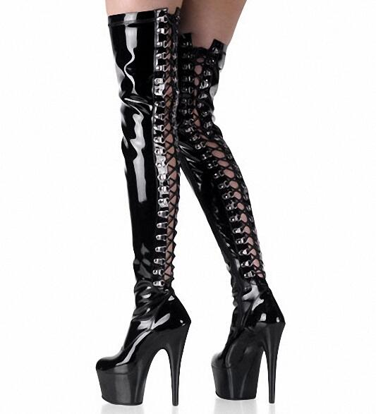 Carpaton Fashion 15cm Super High Leather Boots for Woman Sexy Back Lace-up Over the Knee Platform Boots Pole Dance ShoesCarpaton Fashion 15cm Super High Leather Boots for Woman Sexy Back Lace-up Over the Knee Platform Boots Pole Dance Shoes