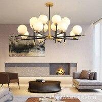 Lustres de iluminação led moderno ferro suspenso lâmpadas luxo deco luminárias sala estar quarto vidro luzes penduradas
