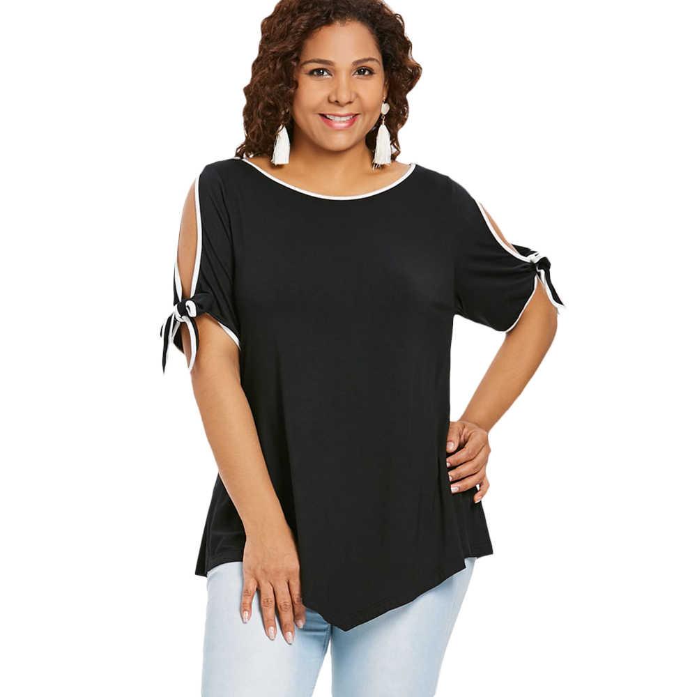 Rosegal плюс Размеры галстук-бабочка, футболка с длинными рукавами лето-осень Для женщин футболка Повседневное с круглым вырезом с коротким рукавом женские топы 2018 черный Костюмы