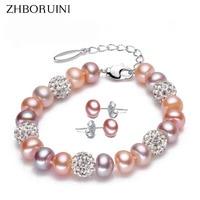 2015 Charm Bracelet Pearl Jewelry Bracelet Natural Freshwater Pearl 925 Sterling Silver Bracelet For Women