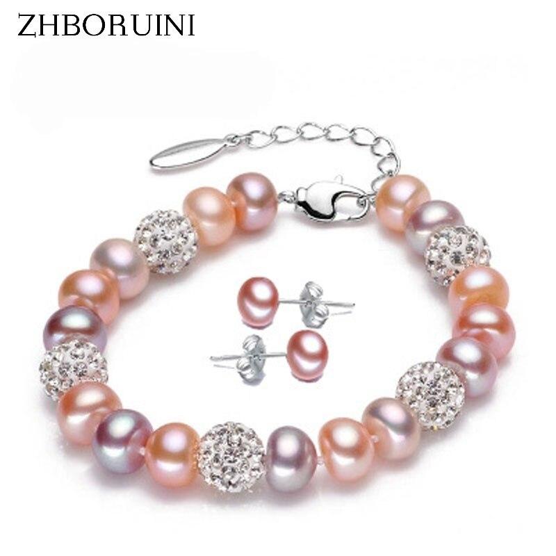 ZHBORUINI 2017 Charm Bracelet Pearl Jewelry Bracelets 8-9mm Natural Freshwater Pearl 925 Sterling Silver Bracelet For Women Gift
