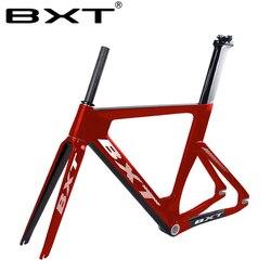 BXT carbón riel Estructura de fibra de carbono piñón fijo bicicleta marco rígido horquilla pista 700c 49/51/54/57cm Aero bicicleta Frameset