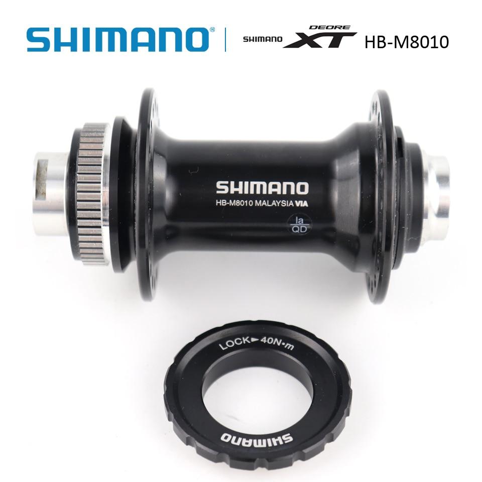Black SHIMANO XT HB-M8010 Front Hub 15 x 100mm Center-Lock 32h
