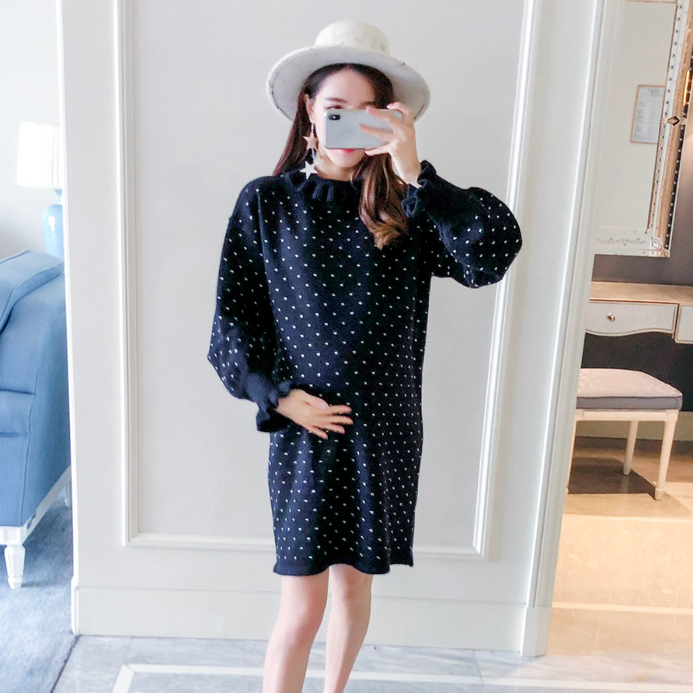 Pregnant women sweater 2018 new fashion high collar dot maternity dress wooden ear pregnancy loose shirt dress chic round collar white t shirt high waisted lace suspender dress women s twinset
