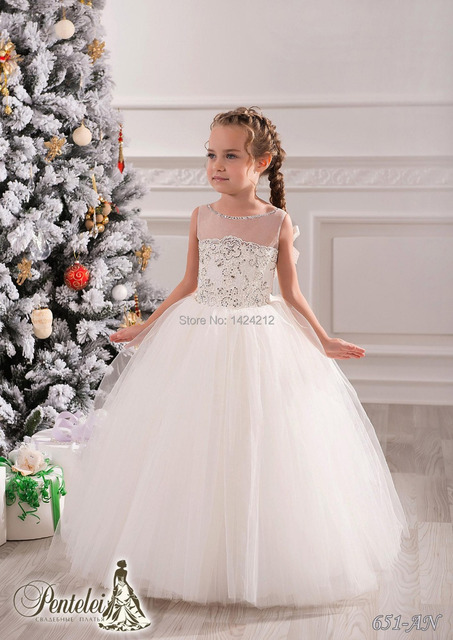 White Jewel Beaded Lace Net Ball Gown Baby Girl Birthday Party ...