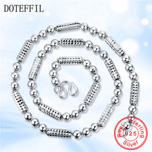 DOTEFFIL 925 Sterling Silver Jewelry Men Necklace Classic Domineering Scrub Beads Solid  Silver Chain Necklace Jewelry 56g solid 925 sterling silver long necklace men vintage indian style bull