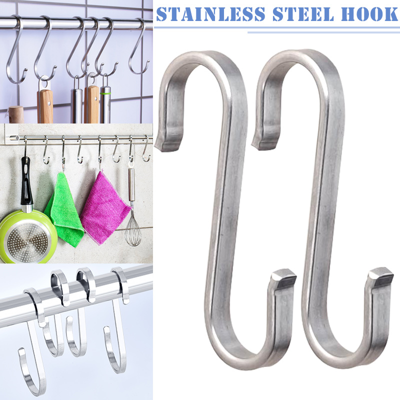 2 Pcs Stainless Steel S Hooks Hanging Clothes Umbrella Kitchen Sundries Hanger J2Y