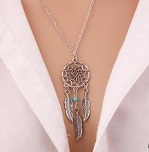 Pendant Necklace Women Feather Jewellery Bohemia Chain