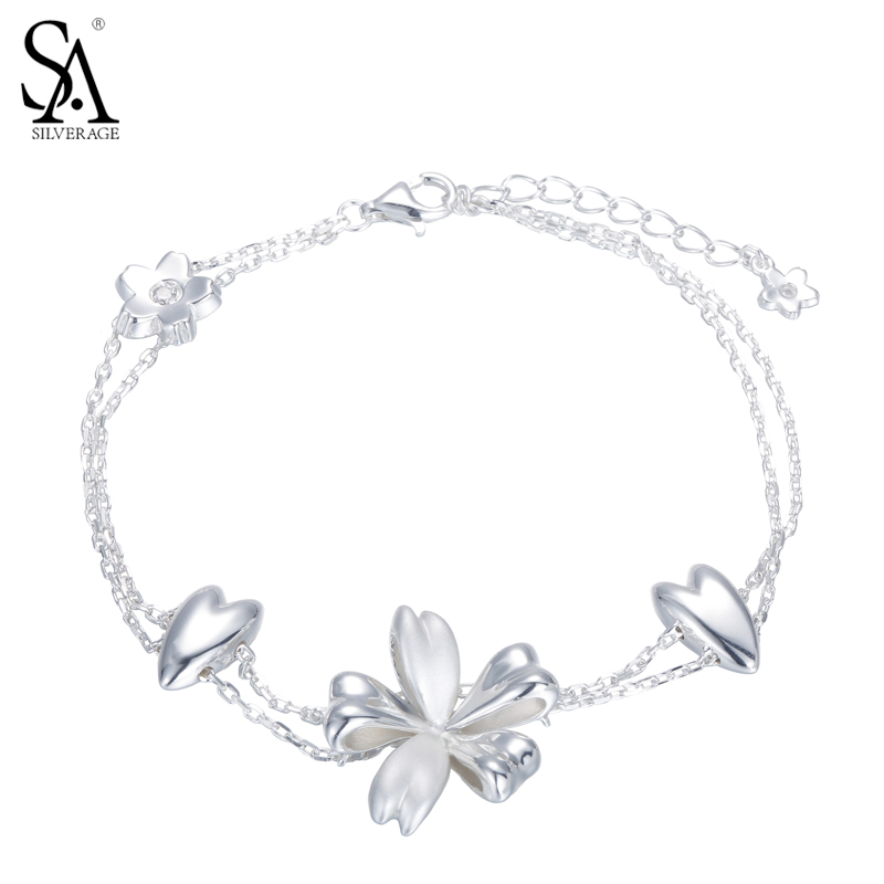 SA SILVERAGE Real 925 Sterling Silver Wrap Bracelet Flowers Chain Link Bracelet Women gift packaging