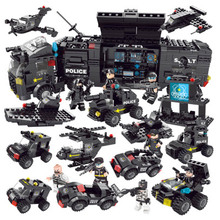 8in1 SWAT City Police Truck Building Blocks Sets Ship Helicopter Vehicle Creator Bricks Playmobil Compatible legoergy city Toys 2054pcs police station prison figures building block kits compatible city swat bricks toys for boys truck helicopter