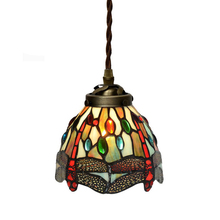 Retro Stained Glass Dragonfly Small LED Hanging Cord Pendant Lamp Light Bar Cafe Restaurant Tabletop Staircase Lighting