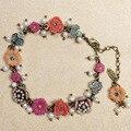 Moda feminina pulseira Les nereides flores Retro flor cadeia de pérolas naturais pulseira