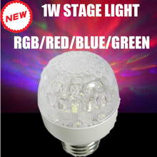 2017 Hot E27 AC85-265V RGB/Red/Blue/Green 1w LED Crystal Stage Light Auto Rotating Lamp Laser Disco DJ Party Holiday Dance bulb цены