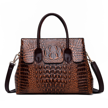2019 New Vintage Genuine Leather Bag Women Alligator Luxury Handbags Women Bags Designer Crossbody Bags for Women Tote Handbags qiwang genuine leather bag women luxury handbags women bags designer chain shoulder bags for women new year red bag quality gift