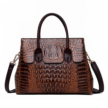 2019 New Vintage Genuine Leather Bag Women Alligator Luxury