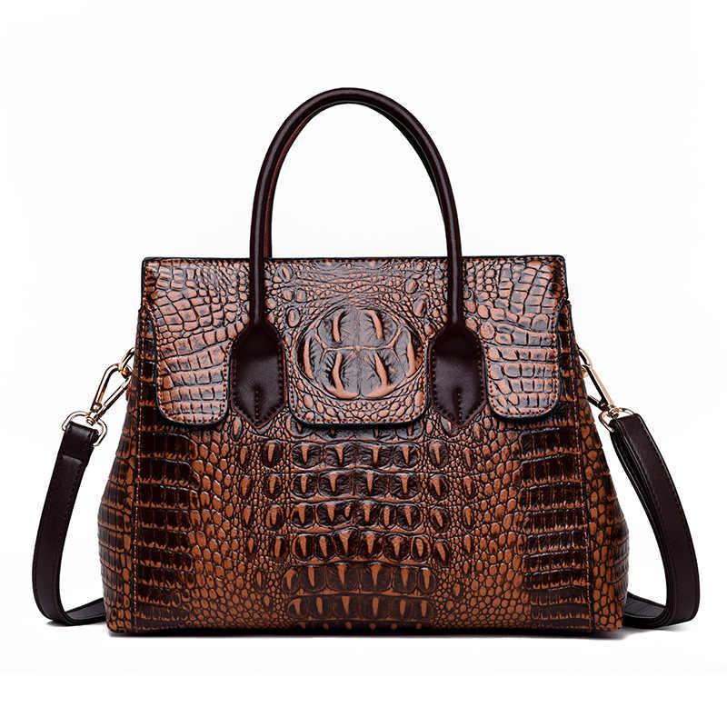 2019 Novo Do Vintage Genuíno Saco De Couro Mulheres Jacaré Bolsas De Luxo Mulheres Sacos Designer de Crossbody Sacos para As Mulheres Bolsas Tote