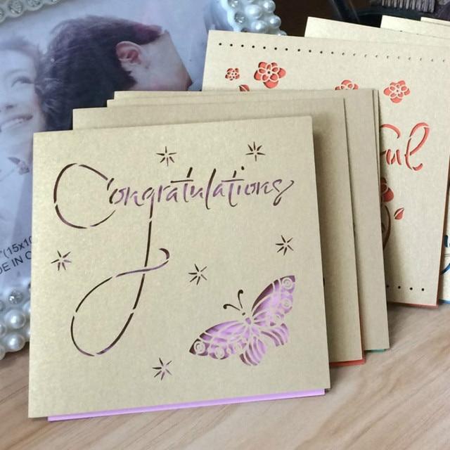 50 Pcs Laser Cut Paper Greeting Cards Handmade Vintage Butterfly Birthday Postcards DIY Wedding