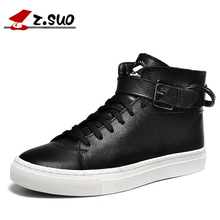 Z. Suo Men 's Shoes Leather Buckles Casual Men's Shoes Fashion High Pure Color for Flat Shoes with Man Zs1609