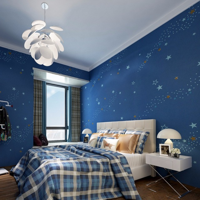 Starry Night Kidsu0027 Bedroom Wallpaper Dark Blue Non Woven Wall Murals  0.53*10M Part 42