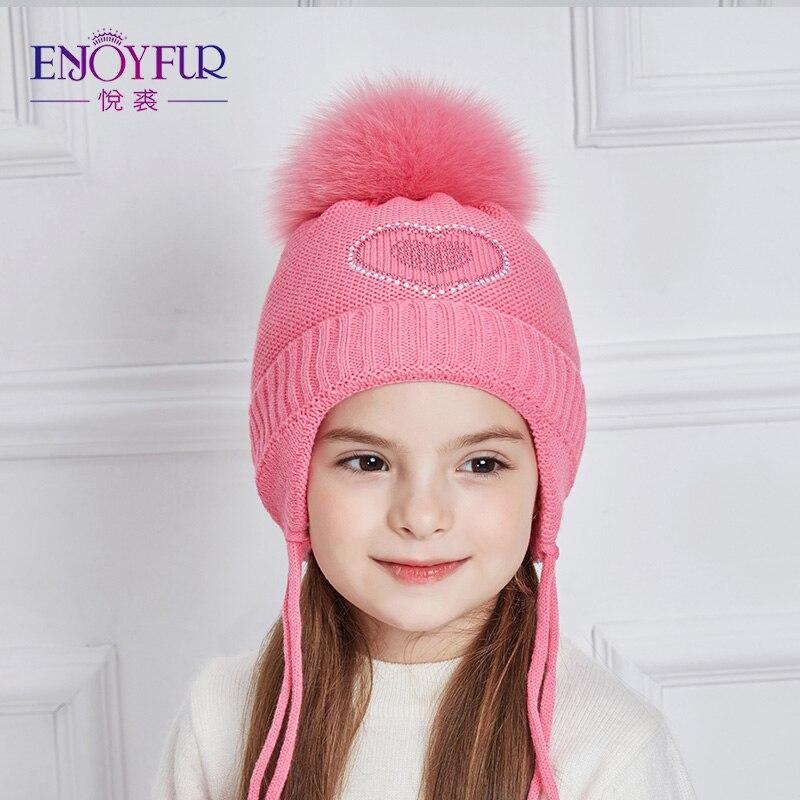 ENJOYFUR Girls Winter Hats Heart-Shaped Rhinestones Decoration Thick Warm Knitted Hat With Fox Fur Pompom Caps Children Cap