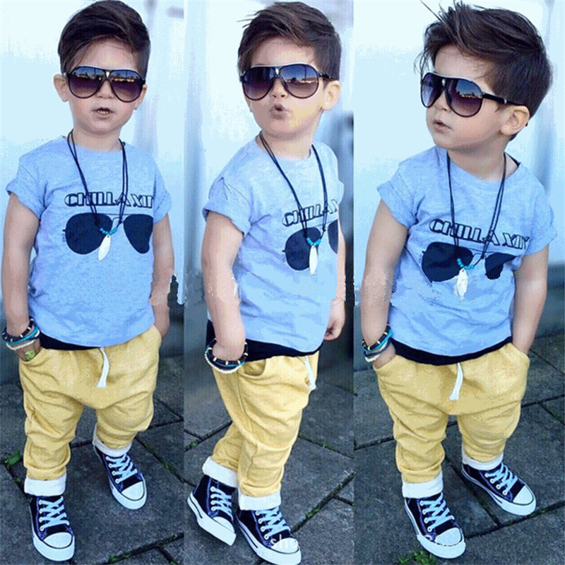 Outfits Sets 2PCS Baby Boys Sets 2016 New Summer sunglasses printing Short Sleeve Shirt + Cool Pants Set Kids Clothes