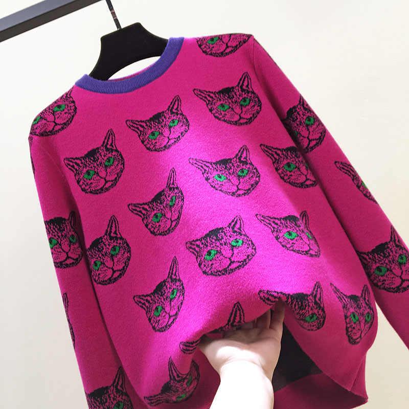 Высококачественный женский зимний свитер из 30% шерсти с круглым вырезом и рисунком головы кота, теплые свободные трикотажные пуловеры розового и красного цвета