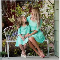 Mother Daughter Dresses Family Matching Clothes 2017 Three Quarter Blue Mommy And Me Clothes Family Look