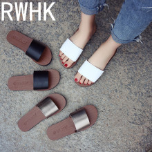 RWHK Female summer 2019 new flat with Korean version of the word slippers fashion outdoor simple casual beach B051