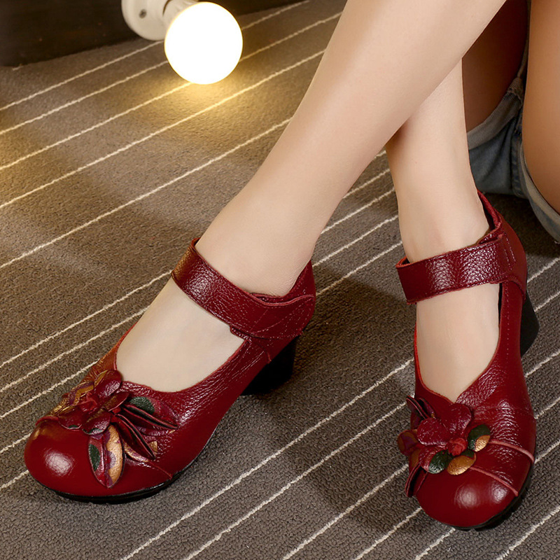 ФОТО Original vintage flowers women's shoes heels thick with leather shoes women peep toe pumps with heels red black ladies shoes