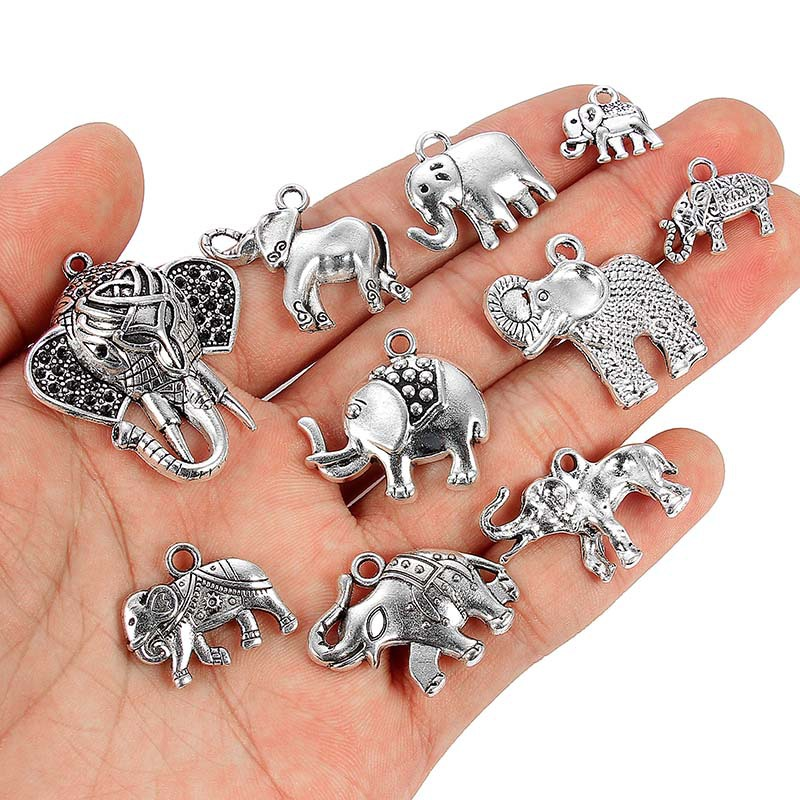 TJP 10pcs Antique Silver Tone Mixed Elephant Animals Charms Pendants for Necklace Bracelet Jewelry Making Findings