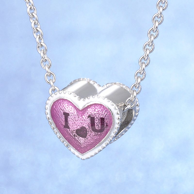 Solid Matt Polish Heart Shape I love You Special Gift Elegant Jewelry S925 Sterling Silver Snake/Cross Chain Necklace