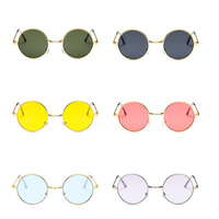 Vintage Round Sunglasses Women Ocean Color Lens Mirror Sunglasses Female Brand Design Metal Frame Circle Glasses UV400 Women's Sunglasses