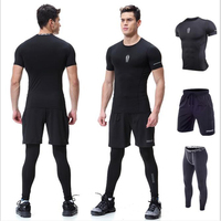 3 Pie Set Men S Running Sets Sportswear Compression Leggings Pants Shirts With Shorts For Running