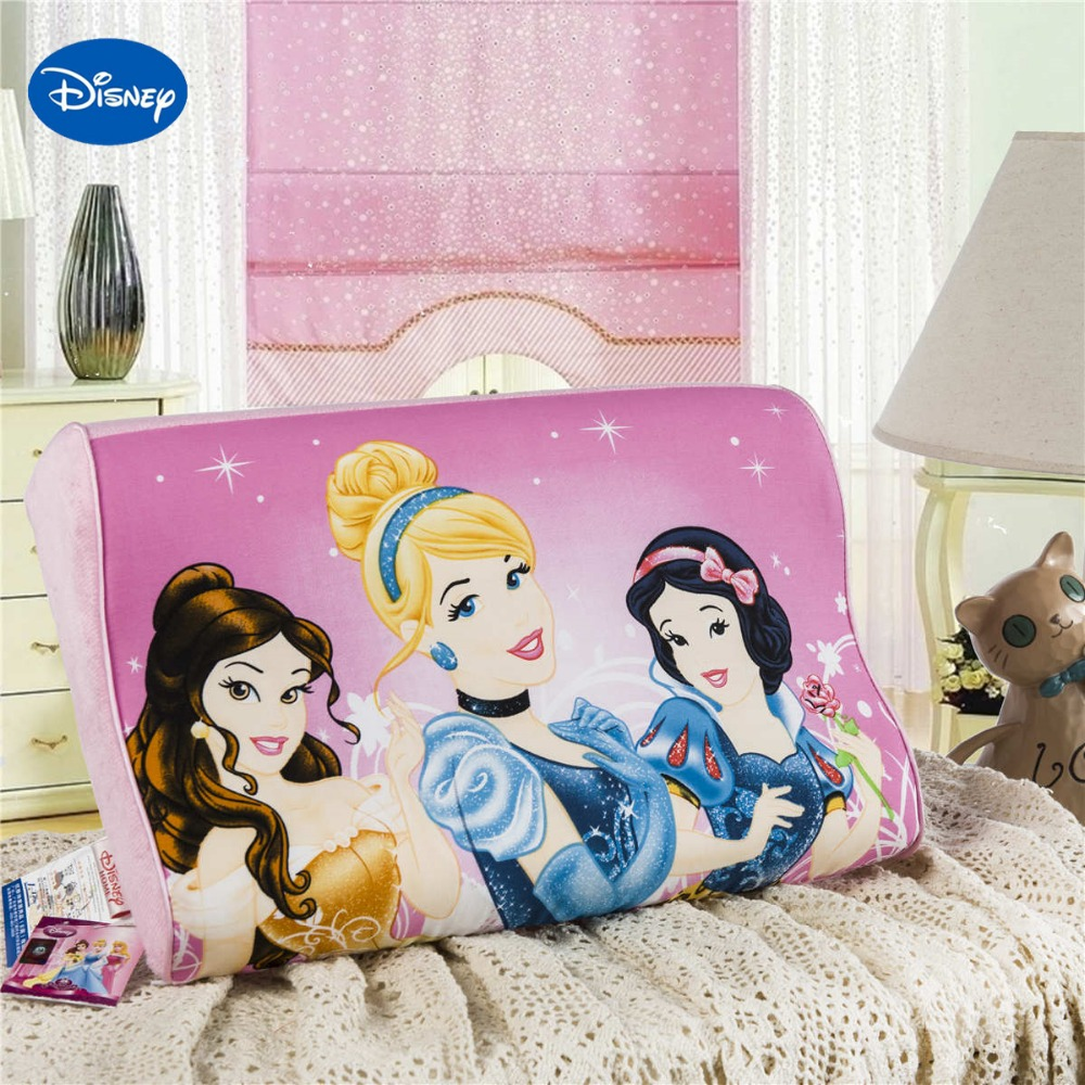ФОТО Pink Cartoon Princess Memory Pillows 40x25cm Bedroom Decor Kids Girl's Baby Cot Crib Bed Bedding Slow Rebound Wave Foam Sleeping
